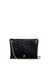 Lanvin 'Sugar' Small Chevron Quilted Leather Chain Shoulder Bag Black