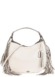 Coach Nomad Cream Fringed Leather Hobo Bag