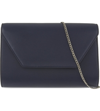 Max Mara Leather Envelope Clutch Navy