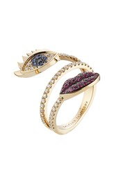Delfina Delettrez 18Kt White Gold Ring With Diamonds Rubies And Sapphires Multicolor