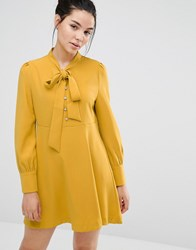 Sister Jane Skater Dress With Bow Tie Up Chartreuse Yellow