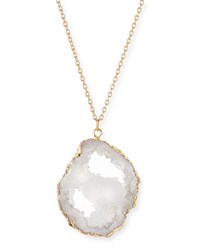 Long Druzy Pendant Necklace White Panacea Red