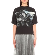 Christopher Kane Car Print Stretch Jersey T Shirt Black