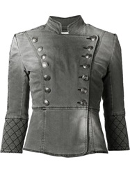 Pierre Balmain Denim Military Jacket Grey