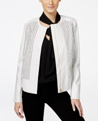 Inc International Concepts Perforated Faux Leather Moto Jacket Only At Macy's Vakko White