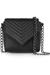 Iris And Ink Isla Chevron Quilted Evening Bag Black