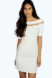 Boohoo Lace Up Eyelet Off Shoulder Bodycon Dress Ivory