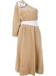 Awake One Shoulder Corduroy Dress Nude And Neutrals