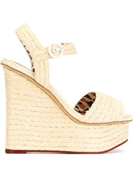 Charlotte Olympia 'Karen' Wedge Sandals Nude And Neutrals