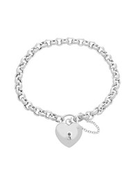 Lord And Taylor Sterling Silver Lock Charm Station Bracelet
