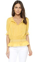 Tory Burch Smocked Peasant Top Quince