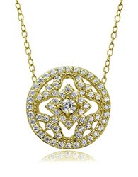 Lord And Taylor Cubic Zirconia Sterling Silver Medallion Pendant Necklace Gold