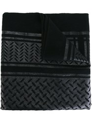 Lala Berlin Metallic Embroidered Scarf Black