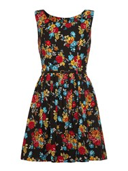 Mela Loves London Floral Fit And Flare Dress Black