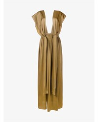 Lanvin Long Skirt With Shoulder Straps Mustard Yellow