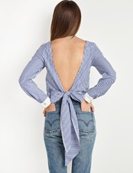 Pixie Market Open Back Tie Striped Top