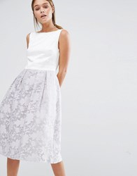 Oasis Organza Skirt Midi Prom Dress Grey
