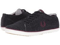 Fred Perry Kingston Tweed Charcoal Oxblood Men's Shoes Black