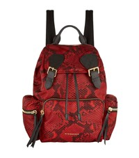Burberry Shoes And Accessories Python Print Buckled Rucksack Female Red