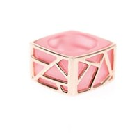 Ona Chan Jewelry Lattice Square Cocktail Ring Pink Cat's Eye