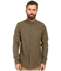 Original Penguin Long Sleeve Garment Dye Woven Dusty Olive Men's Long Sleeve Button Up