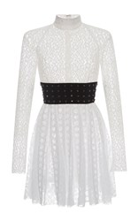Giamba Long Sleeve Lace Mini Dress White