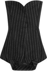 Maison Martin Margiela Strapless Pinstriped Wool And Angora Blend Top Black