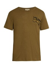 Burberry Adson Logo Applique Crew Neck T Shirt Khaki