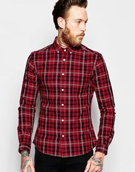 Asos Skinny Shirt In Red With Mini Tartan Check In Long Sleeve Red
