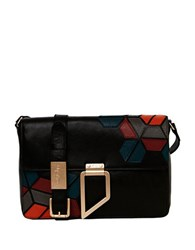 Foley Corinna Valerie Leather Shoulder Bag Black Multi