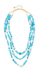 Kate Spade Azure Allure Triple Strand Necklace Turquoise Multi