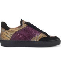 Dries Van Noten Mixed Leather And Fabric Trainers Black Comb