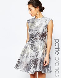 Little Mistress Petite Metallic Prom With Open Back Silver