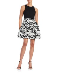 Aidan Mattox Pleated Fit And Flare Dress Black White