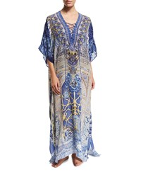 Camilla Printed Lace Up Long Caftan Coverup Women's Song Of The Harpi