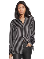 Polo Ralph Lauren Long Sleeve Stripe Silk Shirt Black White