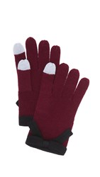 Kate Spade Contrast Bow Texting Gloves Midnight Wine Black