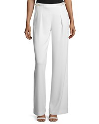 Halston Pleated Front Wide Leg Trousers Bone Ivory