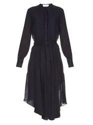 See By Chloe Long Sleeved Cotton And Linen Blend Midi Dress Navy