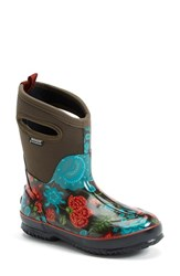 Women's Bogs 'Classic Winter Blooms' Mid High Waterproof Snow Boot With Cutout Handles