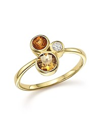 Bloomingdale's Citrine And Diamond 3 Stone Ring In 14K Yellow Gold Yellow White