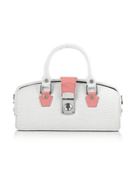 L.A.P.A. Ivory Croco Embossed Mini Doctor Bag White