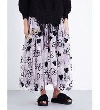 Simone Rocha Spooky Floral Embroidered Tulle Midi Skirt Spooky Lilac