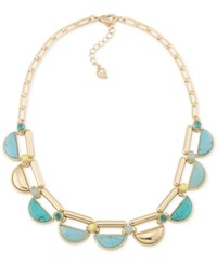 Carolee Gold Tone Multicolor Stone Choker Necklace