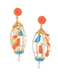 Of Rare Origin Lovebirds Coral Turquoise Bone And Freshwater Pearl Drop Earrings Gold Multi