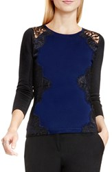 Vince Camuto Women's Side Lace Trim Sweater Naval Navy
