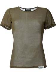 Anthony Vaccarello Ribbed Round Neck T Shirt Green