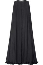 Valentino Draped Silk Chiffon Gown Gray