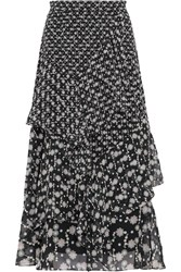 Peter Pilotto Floral Print Silk Georgette Midi Skirt Black