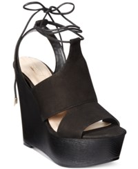 Aldo Women's Gwyni Platform Wedge Tie Up Sandals Black